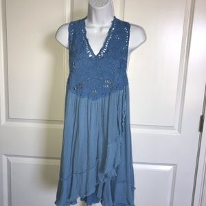 Free People Blue Embroidered Lace Mini Dress XS